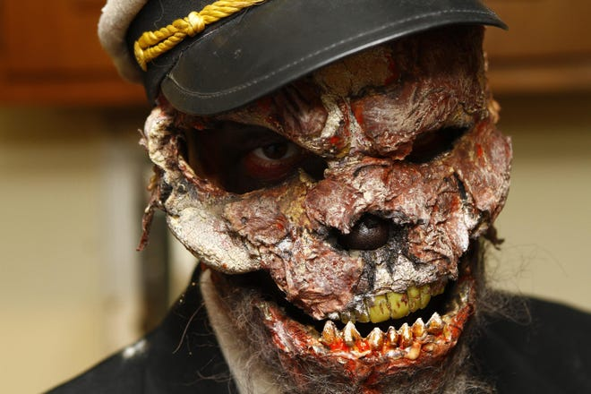 The USS Nightmare, haunted barge, docked at Riverboat Row in Newport, with Josh Pafaf as the captain.