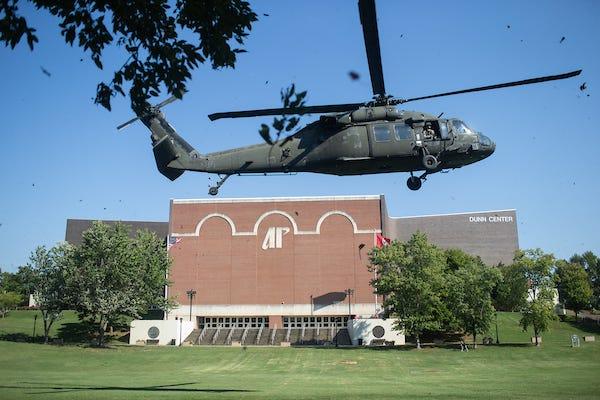 Black Hawk helicopters land on APSU campus