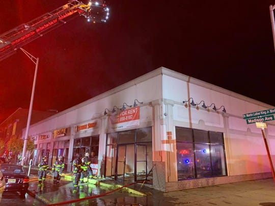 A fire heavily damage a commercial building along Madison Avenue in Perth Amboy on Sunday night.