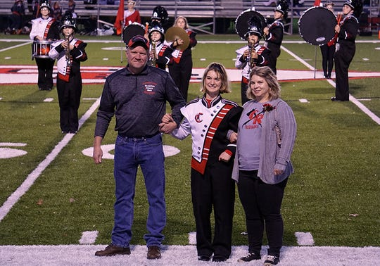 Lacey Richcreek was among the senior marching band members celebrated during the pregame show during the Coshocton Redskins vs Meadowbrook game recently. She was accompanied on the field by her parents, Jeff and Angela Richcreek.