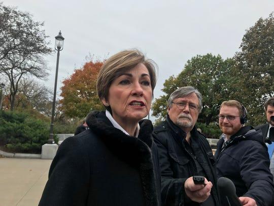 Iowa Gov. Kim Reynolds speaks to reporters in Des Moines, Iowa, on Oct. 28, 2019.