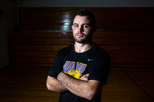 University of Northern Iowa wrestling's Bryce Steiert poses for a photo during UNI's media day on Monday, Oct. 28, 2019, in the West Gym on the UNI campus in Cedar Falls.