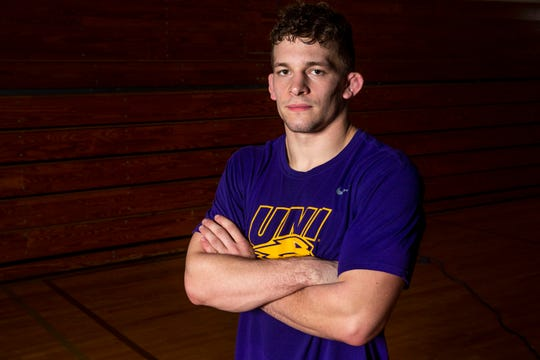 University of Northern Iowa wrestling's Taylor Lujan poses for a photo during UNI's media day on Monday, Oct. 28, 2019, in the West Gym on the UNI campus in Cedar Falls.