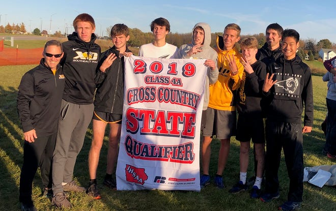 The Southeast Polk cross country teams both qualified for the state meet Thursday with top three finishes at the state-qualifying meet in Pleasant Hill.  From left: coach Pat Owens, Chase Bartlett, Cade Mash, Caden Mitchell, Drake Hanson, Eric Patterson, Carson Owens, assistant coach Aaron Wells and Hudson Frank.