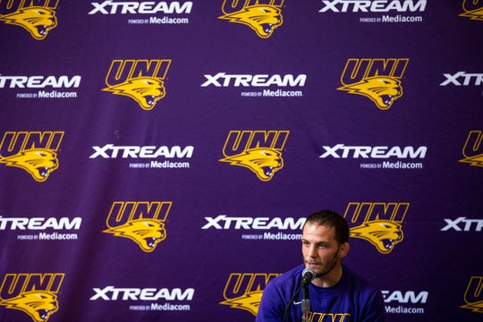Doug Schwab, head coach of the University of Northern Iowa wrestling team, talks to the press during UNI's media day on Monday, Oct. 28, 2019, in the West Gym on the UNI campus in Cedar Falls.