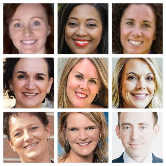 Ankeny school board candidates Annie Barrows, Deshara Bohanna, Katie Claeys, Blanca Guerrero, Stephanie Judd, Amber Sommerfeld, Amy Tagliareni,CoraLynn Trewet andRyan Weldon.