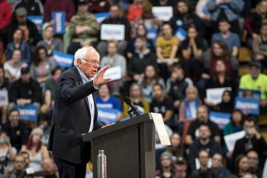 Sen. Bernie Sanders addresses crowd during a rally Cass Technical High School in Detroit, Mich., Sunday, Oct. 27, 2019.