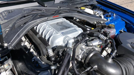 The 2020 Ford Mustang Shelby GT 500's supercharged 5.2L V8 generates 760 horsepower and 650 pound-feet of torque.