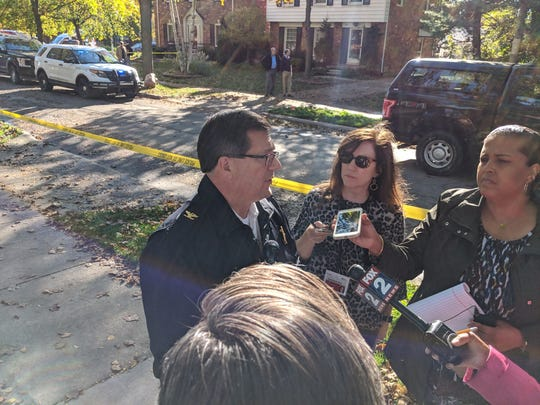 Stephen Poloni, director of public safety for the cities of Grosse Pointe and Grosse Pointe Park, speaks with the media Monday afternoon.