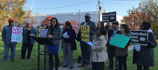 U.S. Rep. Rashida Tlaib calls for Fiat Chrysler Automobiles to make sure residents in the neighborhoods near its new east side Detroit assembly plant are able to breathe clean air.