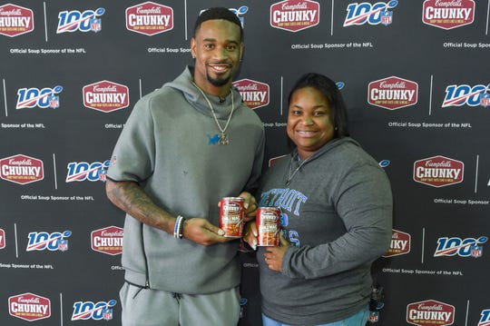 Detroit Lions' Darius Slay, his mom Stephanie Lowe and Campbell's Chunky Soup provide Thanksgiving feast for firefighters and police officers Oct. 3, 2019 in Detroit.