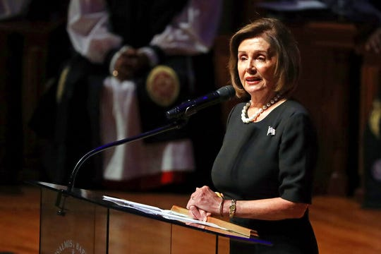 House Speaker Nancy Pelosi of Calif., speaks during funeral services for Rep. Elijah Cummings, Friday, Oct. 25, 2019, in Baltimore.