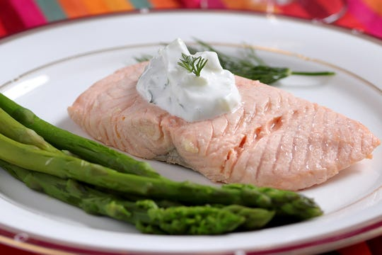 Low-sodium salmon with cucumber-dill sauce, Wednesday, Sept. 25, 2019. (Hillary Levin/St. Louis Post-Dispatch/TNS)