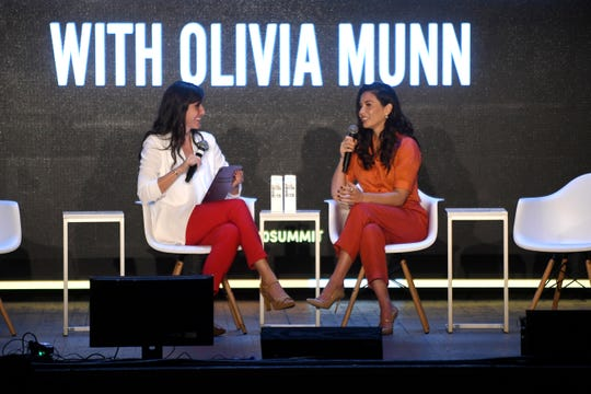 Actress Olivia Munn (right) addresses at large crowd during the Forbes Under 30 event held at the  Masonic Temple on Sunday, October 37, 2019 interviewed by Maggie McGrath.