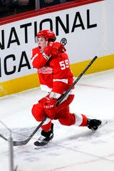 Red Wings' Tyler Bertuzzi has 12 goals and 16 assists in 36 games this season.