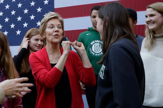 Democratic presidential candidate Sen. Elizabeth Warren, D-Mass., speaks to young people at a campaign event at Dartmouth College in Hanover, N.H.