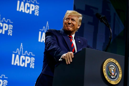 President Donald Trump speaks to the International Association of Chiefs of Police Annual Conference and Exposition, at the McCormick Place Convention Center Chicago, Monday, Oct. 28, 2019, in Chicago.