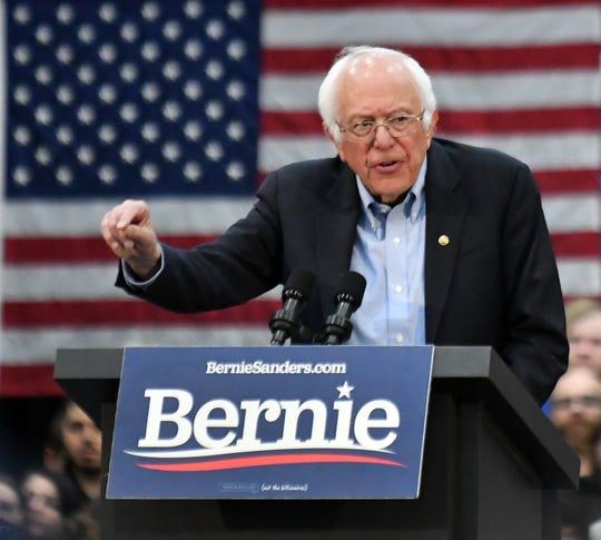 Democratic presidential candidate and senator, Bernie Sanders speaks.