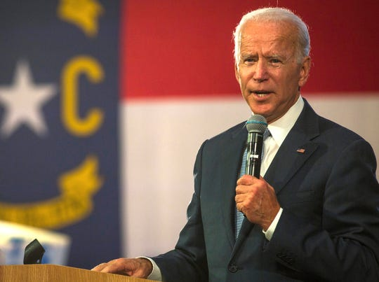 Democratic presidential candidate and former Vice President Joe Biden speaks to supporters at Hillside High School in Durham, NC on Sunday, Oct 27, 2019.
