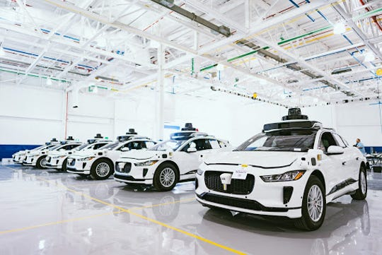 The latest self-driving vehicles deployed by Waymo LLC — Jaguar I-PACE SUVs outfitted with the technology in Detroit — do not have Waymo's logo so that the car and the autonomous technology can have their own brand identities.