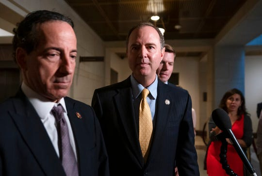 From left, Rep. Jamie Raskin, D-Md., House Intelligence Committee Chairman Adam Schiff, D-Calif., and Rep. Eric Swalwell, D-Calif., return to a secure area at the Capitol after informing reporters that former deputy national security adviser Charles Kupperman failed to appear to be interviewed in the impeachment inquiry of President Donald Trump, in Washington, Monday, Oct. 28, 2019.