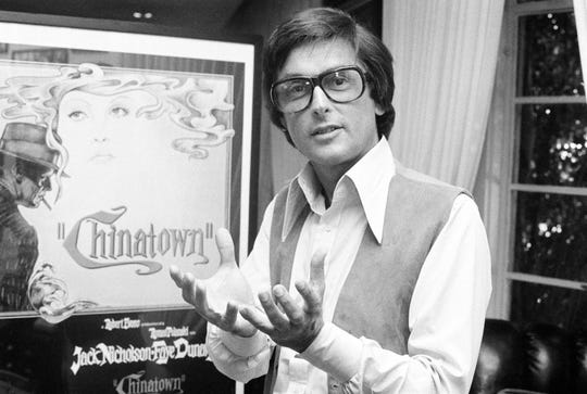 "This 1974 file photo shows Paramount Pictures production chief Robert Evans talking about his film ""Chinatown"" in his office in Beverly Hills, Calif."