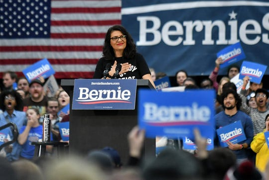 U.S. Rep. Rashida Tlaib speaks to a crowd of 4,700 at the rally.