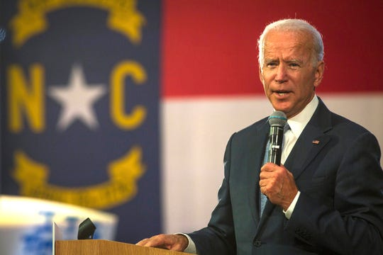 Democratic presidential candidate and former Vice President Joe Biden speaks to supporters at Hillside High School in Durham, N.C. on Sunday, Oct 27, 2019. Approximately 850 people attended the rally in Durham.