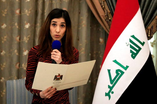 In this Dec. 12, 2018, file photo, Nobel Peace Prize recipient Nadia Murad speaks during a meeting with Iraqi President Barham Salih and other dignitaries, in Baghdad, Iraq. Murad, a Yazidi woman who was among those kidnapped and enslaved, welcomed the news of the death of Islamic State leader Abu Bakr al-Baghdadi.