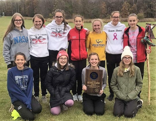 Members of the Gillett Girls Cross Country Team hold their plaque for winning the Division 3 Sectional Champion on Saturday at Westfield. From left, back row: Myriah Marohl, Megan Wagner, Kasey Hansen, Angela Mosconi, Ryann Wagner, Alaina Herzog; Amber Brehmer; front row: Cheyanne Krueger, Macy Franti, Sylvia Hansen and Laney DeBauch.