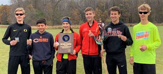 The Gillett Boys Cross Country Team poses for a photo after claiming the Division 3 Sectional Championship at Westfield on Saturday. From left: Alex Peterson, Antonio Lizarraga, Riley Engebretsen, Connor Hanson, Derek Hanson and Evan Peterson.