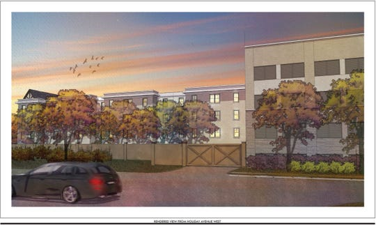 Rendering of the proposed Dockside Development on Tiger Blvd. in Clemson submitted to the Board of Architectural Review by developer Clemson Dockside LP. If approved, this would be the view Holiday Ave. West residents would have of Dockside.