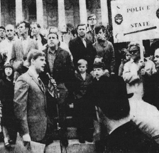 Among those opposed to integration was parking lot owner and local politician Carroll Campbell, shown here addressing more than 3,000 people (some from Darlington County, which was also ordered to integrate in February 1970) in Columbia. Campbell later was elected a state senator, congressman and South Carolina governor.