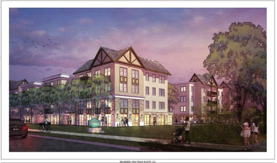 Rendering of the proposed Dockside Development on Tiger Blvd. in Clemson submitted to the Board of Architectural Review by developer Clemson Dockside LP.