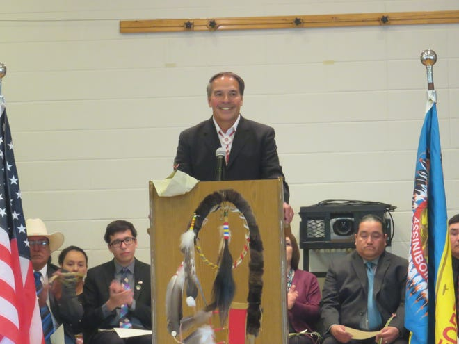 Incumbent Chairman Floyd Azure addresses the crowd at Fort Peck Community College.