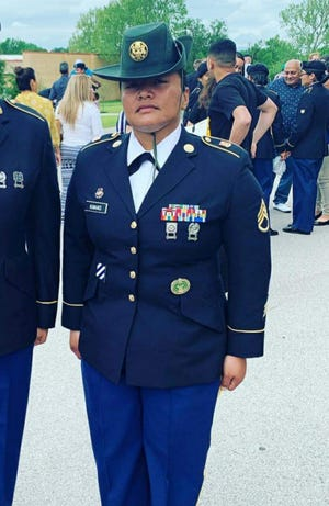 Staff Sergeant Gerianne Kakas, of Dededo has served in a variety of positions from signal support systems specialist, human resources specialist, squad leader and senior human resources sergeant. She is currently serving as a drill sergeant at Delta Battery, First Battalion, 40th Field Artillery, 434th Filed Artillery Brigade, Fort Sill, Oklahoma. Kakas' assignments include Fort Sill Oklahoma, Fort Bliss, Texas and Fort Benning Georgia. She has deployed to Iraq, Kuwait and Afghanistan. She is currently pursing a bachelor's degree in business administration at American Military University.