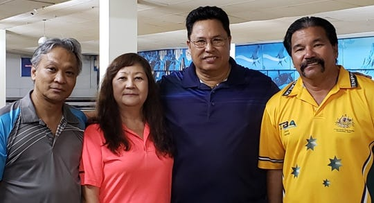Guam Senior Bowling Association competitors, from left, third place finisher Edgar Naludasan, champion Liz Langas, runner up Jimmy Pinaula and fourth place Manny Torre