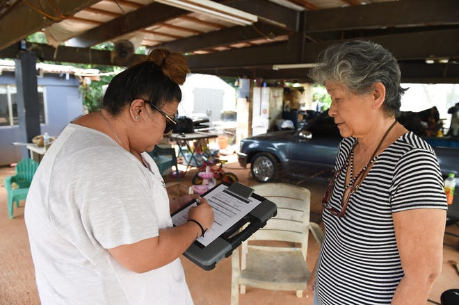 CHamoru Land Trust Commission land agent Jhoana Casem, left, conducts a lessee review with homeowner Rosa Apuron on Swamp Road in Dededo in this Oct. 28, 2019, file photo.