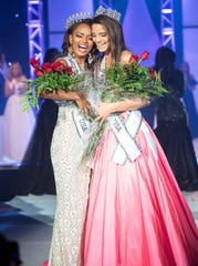 Asya Branch (left) was crowned Miss Mississippi USA and Zoe Bigham (right) was crowned Miss Mississippi Teen USA Saturday at the Horseshoe Casino and Resort in Tunica, Miss.