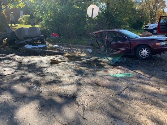 A vehicle was sheared in half in a two-vehicle crash Sunday afternoon at the intersection of 28th Street and North Sherman Avenue on Sunday, Oct. 27, 2019. Six people were injured, IFD said.