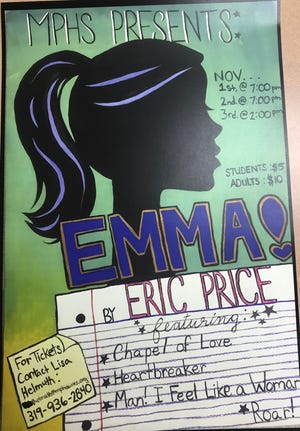 "Poster for Mid-Prairie High School's production of ""Emma! A Pop Musical."""