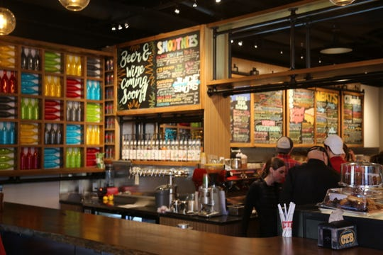 The bar inside Collegetown Bagels' new downtown location. Collegetown Bagels is located inside the City Centre building and at the 300 block of State Street.
