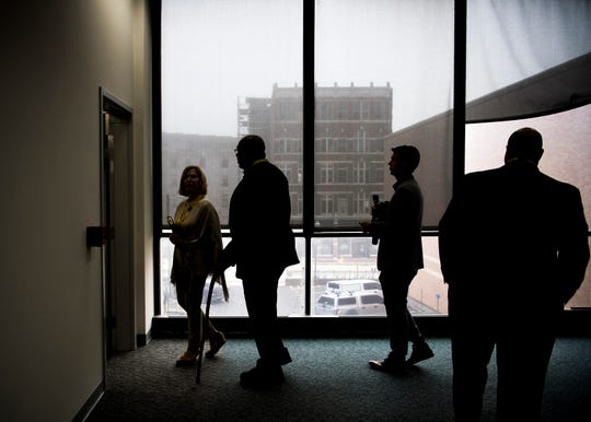 Local officials and members of the media tour inside the TVA East Tower in downtown Knoxville on Monday, October 28, 2019.