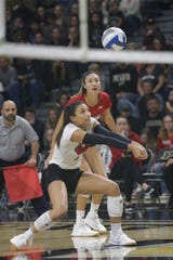 Nebraska defense specialist Kenzie Knuckles (2) hits the ball during the fourth set of a NCAA women's volleyball game, Saturday, Oct. 26, 2019 at Holloway Gymnasium in West Lafayette.