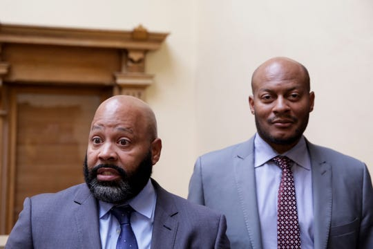 Attorney's Terrance Kinnard, representing Michael Barnett, and Philip Hayes, representing Kristine Barnett, speak with the media after a gag order hearing in Superior 2, Monday, Oct. 28, 2019 at the Tippecanoe County Courthouse in Lafayette. Barnett and his ex-wife, Kristine Barnett, are accused of abandoning their adoptive daughter in Lafayette in 2013.