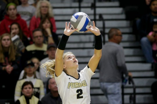 Purdue setter Hayley Bush (2) sets the ball during the second set of a NCAA women's volleyball game, Saturday, Oct. 26, 2019 at Holloway Gymnasium in West Lafayette.