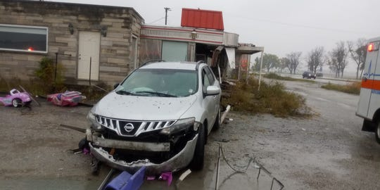 Kiersti Sickbert, of Lebanon, lost control of her Nissan SUV after getting cut off Saturday, Oct. 26, on U.S. 52, sending the vehicle through the stainless steel facade of a vacant roadside diner, once called the Duck In Diner, near the intersection with Indiana 28 near Clarks Hill.
