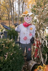 Numerous Halloween-themed plywood cutouts line the yard of Leanne and Gene Szatkowski, shown Monday, Oct. 28, 2019. All of the cutouts were hand-painted by Leanne.