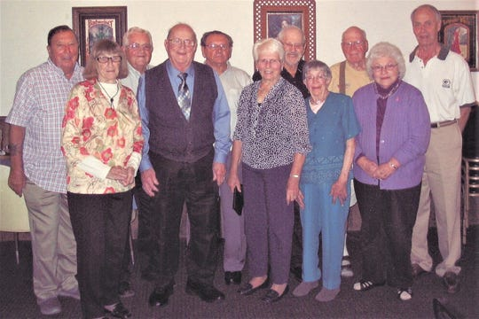 Mishicot High School class of 1954 recently held its 65th reunion. Pictured, from left: Donald Weinfurther, Mary (Schuette) Hebert, James Krcma, James Peroutka, William Zahorik, Patricia (Genrich) Pribek, Harold Ney, Cynthia Bayless, Eugene Springstube, Shirley (Koene) Mecha and Henry Wallace.