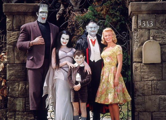 "Cast of ""The Munsters,"" Pat Priest at right."